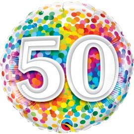 "Balão 50 Anos Rainbow Confetti 18"""