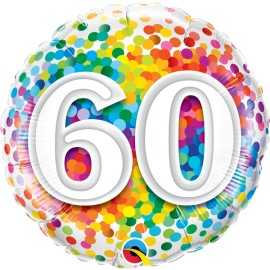 "Balão 60 Anos Rainbow Confetti 18"""