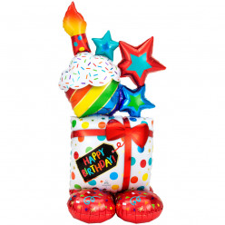 Balão AirLoonz Stacked Birthday Icons 134cm