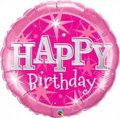 Balão Aniversário Rosa com Brilho