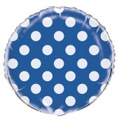 Balão Azul Bolinhas Metalizado 45cm
