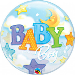 Balão Bubble Baby Boy Moon & Stars