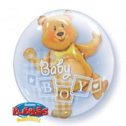 Balão Bubble Baby Boy Urso