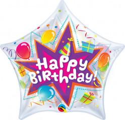 Balão Bubble Estrela Happy Birthday