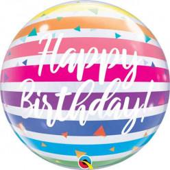 Balão Bubble Happy Birthday Rainbow Stripes