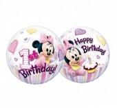 Balão Bubble Minnie Bebé - Happy Birthday - 56cm