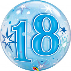 Balão Bubble Sparkle Azul 18