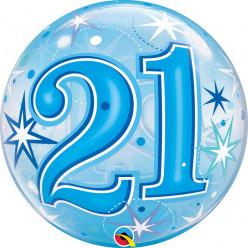Balão Bubble Sparkle Azul 21
