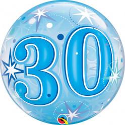 Balão Bubble Sparkle Azul 30