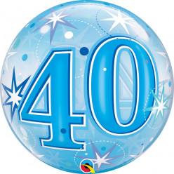 Balão Bubble Sparkle Azul 40