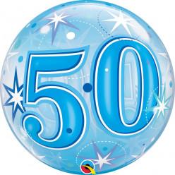 Balão Bubble Sparkle Azul 50