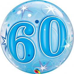 Balão Bubble Sparkle Azul 60
