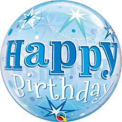 Balão Bubble Sparkle Azul Happy Birthday