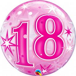 Balão Bubble Sparkle Cor-de-Rosa 18