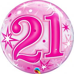 Balão Bubble Sparkle cor-de-rosa 21