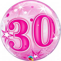 Balão Bubble Sparkle Cor-de-Rosa 30