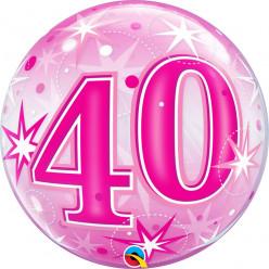 Balão Bubble Sparkle cor-de-rosa 40