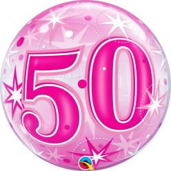 Balão Bubble Sparkle cor-de-rosa 50