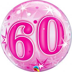 Balão Bubble Sparkle cor-de-rosa 60