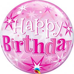 Balão Bubble Sparkle cor-de-rosa Happy Birthday