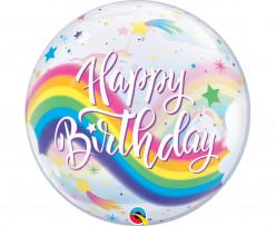 Balão Bubbles Happy Birthday Unicórnio 56cm