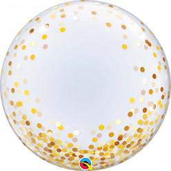 Balão Deco Bubble Confetis Dourados