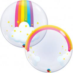 Balão Deco Bubble Rainbow Clouds