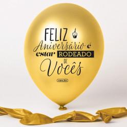Balão Dourado Feliz Aniversário