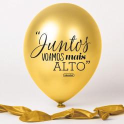 Balão Dourado Juntos Voamos Mais Alto
