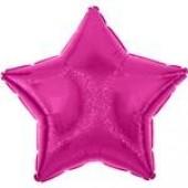 Balão Estrela Metalizado Glitter Rosa Fuchsia 45cm