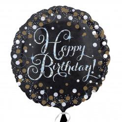 Balão Foil 18 Standard Happy Birthday Gold Sparkling