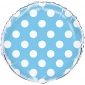 Balão Foil Azul bolinhas 45 cm