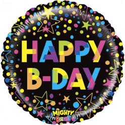 Balão Foil Colorful Happy B-Day 53cm