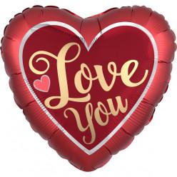 Balão Foil Coração Acetinado Love You 45cm