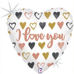 Balão Foil Coração Glitter Holográfico Love 46cm