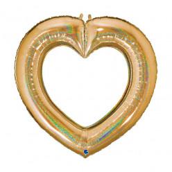 Balão Foil Coração Glitter Holographic Dourado 104cm