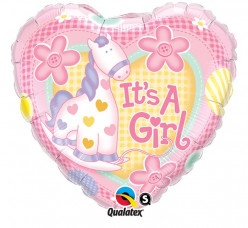 Balão Foil Coração Its a Girl Ponéi 46cm