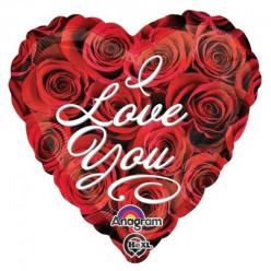 Balão Foil Coração Ramo Rosas I Love You 43cm