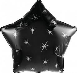Balão Foil  Estrela Sparkle Preto