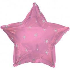 Balão Foil Estrela Sparkle Rosa Claro