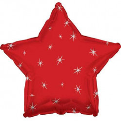 Balão Foil  Estrela Sparkle Vermelho
