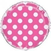 Balão Foil Fushia bolinhas 45 cm