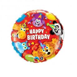 Balão Foil Happy Birthday Animais da Selva 46cm