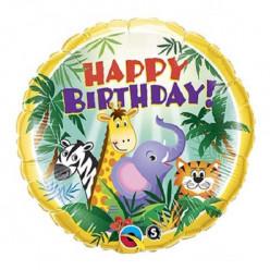 Balão Foil Happy Birthday Jungle Friends 46cm