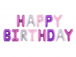 Balão Foil Happy Birthday Mix Rosa