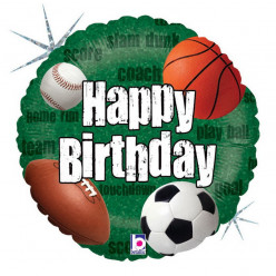 Balão Foil Holográfico Bolas Desporto Happy Birthday 46cm