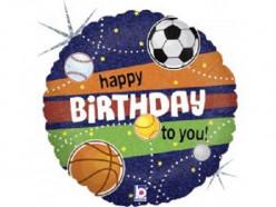 Balão Foil Holográfico Desporto Happy Birthday 46cm