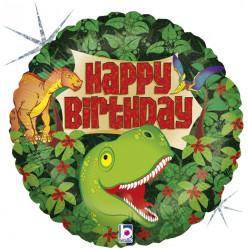 Balão Foil Holográfico Dinossauro Happy Birthday 46cm