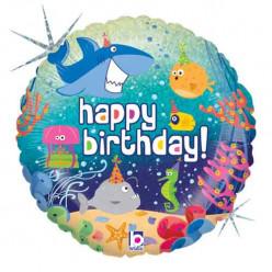 Balão Foil Holográfico Happy Birthday Animais Marinhos 46cm