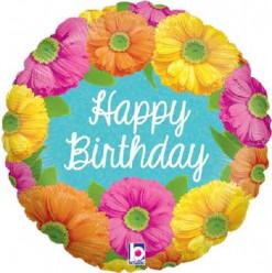 Balão Foil Holográfico Happy Birthday Flores 46cm